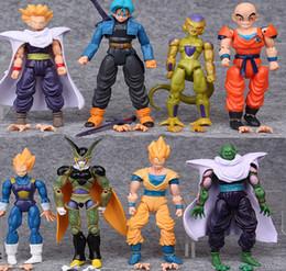 Wholesale goku set - Dragonball Z Dragon Ball Goku Vegeta Piccolo Gohan super saiyan Action Joint Movable 12cm 8pcs set DDA134