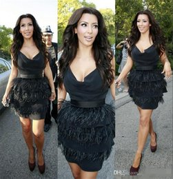 Wholesale Kim Kardashian Formal Dresses - Celebrity Kim Kardashian Black Feather Cocktail Party Dresses with Feathers Tiered Short Mini Sexy Women Prom Formal Gowns