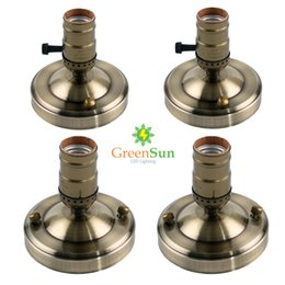 Wholesale Brass Ceiling Lights - GreenSun 4Pcs Antique Brass Lamp Base E27 E26 Aluminum Retro Edison Ceiling Screw Light Lamp Bulb Socket Holder With Switch