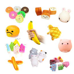 plastic doughnut Coupons - Kawaii Doughnut rabbit banana Slow Rising Squishy Scented Sweet Cream Charms Bread Kids Gaps Toy Gift With Straps
