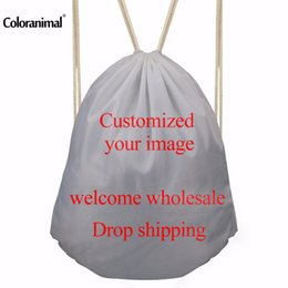 Wholesale customized fitness - Coloranimal Customized Your Image Drawstring BackpacTravel Softback Man Women Storage Bags Sport Fitness Drawstring Bag Male