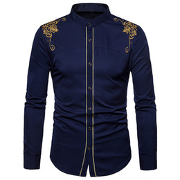 button down mens shirt Coupons - Feitong Men Shirts Mens Hipster Fit Long Sleeve Button Embroidery Down Dress Shirts Tops Blouse 2018 Fashion Men's Shirt