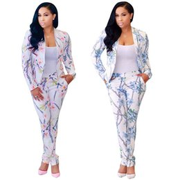 Wholesale Office Women Suit Sexy - 2017 Women Floral Sexy Two Pieces Sets Fashion Autumn Winter Female OL Workwear Blazer Long Pants Suits Woman Office Sets