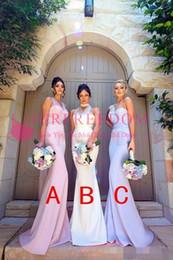 Wholesale Silk One Shoulder Long Dress - Three Styles Neckline Mermaid Long Bridesmaid Dresses 2018 New One Shoulder Cheap Elegant Wedding Party Guest Wear Vintage Arabic Gowns
