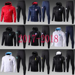 Wholesale Free Suits - free shipping 17 18 Real Madrid kits Soccer training suit add cap 2018 tracksuit RONALDO BENZEMA ISCO ASENSIO MODRIC KROOS soccer tracksuit