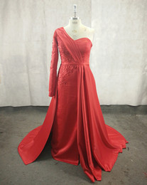 Wholesale Light Blue Dresses Straight - Burgundy Long Sleeves Evening Dresses Straight One Shoulder Lace Beaded Sequined Sexy Slits Robe De Soiree Inspired By Saudi