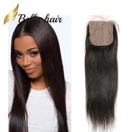 Wholesale peruvian hair silk closure piece - Bella Hair® Silk Base Closure 100% Peruvian Virgin Hair Piece Top Closure 10~20 4*4 Human Hair Top Closure Natural Color Silky Straight