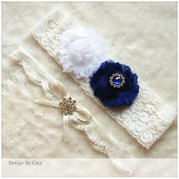 Wholesale Vintage Bridal Garters - 1 pair designed bride to be lace garters bridal toss garter wedding party stretch garter blue bridal vintage inspired