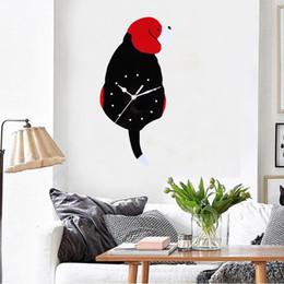 большие желтые часы Скидка 1X Acrylic Clock Acrylic Red Cute Dog Creative Cartoon Wall Clock Home Decor Watch Way Tail Move Silence Drop Shipping2018j25