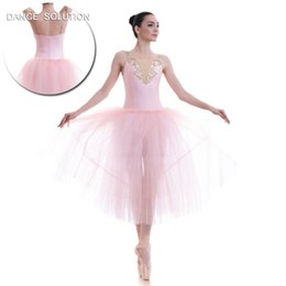 Nueva colección de niños y adultos Pale Pink Romantic Style Ballet Dance Tutu Long Dress Performance Disfraces 18703 desde fabricantes