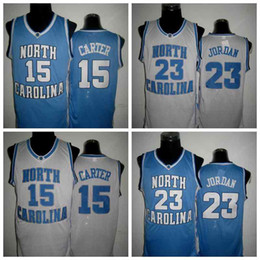 Wholesale North Blue - Vince Carter UNC Jersey, North Carolina #15 Vince Carter Blue White Stitched NCAA College 23 Jerseys, Embroidery Logos SIZE S-XXXL