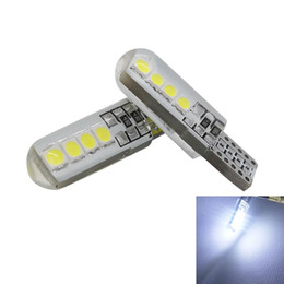 Wholesale wedge led - T10 W5W Silicone Shell 8 SMD 3030 LED Car bulb 192 168 Silica gel Wedge Auto Parking Bulb Signal Lamp 12V White