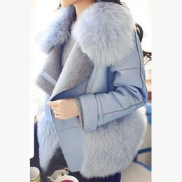 Wholesale Korea Slim Women Coat - Korea Women Winter Clothing Faux Fox Fur Turn-down Collar Thick Female Jacket Coat Slim Short Warm Overcoat Outwear MY0071
