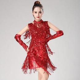 Vestidos de baile de lentejuelas rojas online-Latin Dance Fringe Dress Mujeres Azul Rojo Negro Sliver Gold Sequin Dresses Samba Carnival Outfit Mujeres Niñas Vestido de competencia