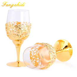 Wholesale crystal stems - One pair Whiskey Glass Wine Goblet With Gold Stem Cup Stemware Wedding Goblets set Champagne Glass Crystal Valentine's Day