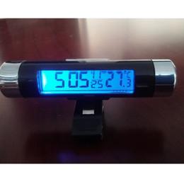 Haute qualité clip sur voiture LCD affichage numérique thermomètre lumière bleue rétro-éclairage mois date électronique thermomètre horloge ? partir de fabricateur