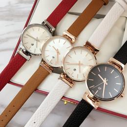 Wholesale Clock For Auto - 2018 Brand new model Fashion women genuine leather Luxury wristwatch Female clock japan movement quartz watch auto date Best gift for girls