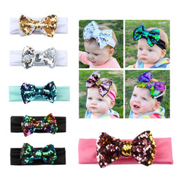 Wholesale Handmade Girls Accessories - High Quality 7 Style Handmade Boutique Sequin gradient color Headband with Fabric Bow for Baby Girls boy Hair Accessories Flowers Head Band