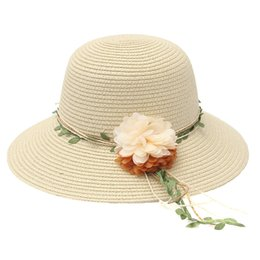 Wholesale Foldable Beach Hats For Women - Ladies Wide Brimmed Beach Handmade Flower Garland Foldable Straw Hats For Women girls Sun protection Bohemia Summer Hat C3967