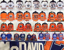 Wholesale Orange Ice Hockey Jerseys - 2018 New Style Edmonton Oiler #19 Patrick Maroon 27 Milan Lucic 29 Leon Draisait Cam Talbot 99 Wayne Gretzky 97 Connor McDavid Jersey