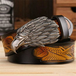 Wholesale first head - New Listing Luxury Eagle Head Man Belt Buckles The First Layer Genuine Leather Men Belts Brand Cowskin Fashion Vintage Male Strap Ceinture