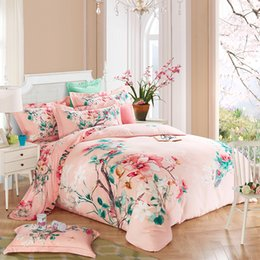 Wholesale Oriental Cover - 100% Cotton Sanding Warm Bed set Floral print Oriental Modern Bedding Set King Queen Size Duvet Cover Bed sheet Pillowcase