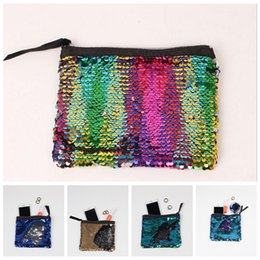 Wholesale Sequins Cosmetic Bag - 9 Colors 19*15cm Sequin Clutch Bag Mermaid Sequin Purse Mermaid Makeup Bags Cosmetic Bag Glitter Sequins Coin Bags YYA1041