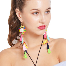 Wholesale pearl tassel earrings - pearl pendant necklace women jewelry 2018 new fashion Bohemia Ethnic earings colorful tassel Collarbone chain wholesale Tassel Earrings sets