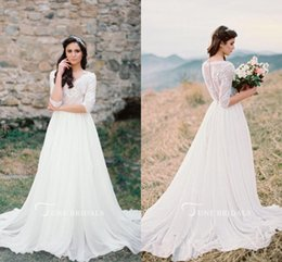 Wholesale sexy western tops - Western Country Wedding Dresses 2018 V Neck Lace Top Button Back A Line Boho Bridal Gown