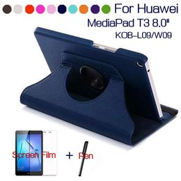 Wholesale Huawei Pads - Rotating PU Leather Case for Huawei MediaPad T3 8.0 Honor Play Pad 2 KOB-L09 KOB-W09 Tablet Funda Cover+Free Screen Film+Pen