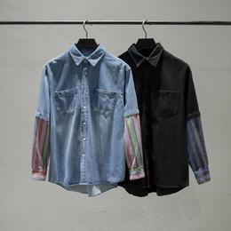 2bda1fdcf29 2018 Fashion Luxury Winter Autumn Men Women Europe Paris Patchwork Jeans  Shirt Fake two piecie Stripe Street Denim Coat