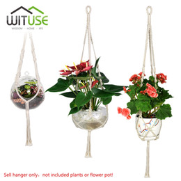 "Wholesale Cotton Hangers - Wituse 3x Macrame Plant Hanger Cotton Handmade Hanging Rope Patio Garden Plant Basket Pot Hanger For Home Garden Decor 29  36  46 """
