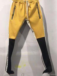 Jersey estilo color amarillo online-Nuevo Yellow Blue Color Fear Of God Quinta colección FOG Justin Bieber lateral Cremallera Casual Sweatpants Hombres Hiphop Jogger Pants 3 style S-XXL
