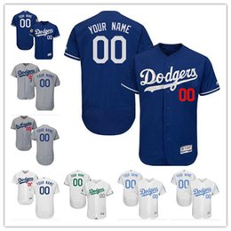 Wholesale La Dodgers - custom Men's women youth Majestic Los Angeles Jersey #00 Your name and your number Blue Grey White Kids Girls LA Dodgers Baseball Jerseys
