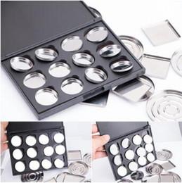 Wholesale Empty Pans - Makeup Cosmetic Empty 12 pcs Aluminum Magnetic Eyeshadow Eye Shadow Pigment Pans Palette Case CCA8668 100pcs