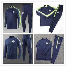 Wholesale pant sets - 2018-19 new MEN MC MAN City Tranning KITS TRACKSUIT outfits FULL ZIPPER SET Jacket Pants DE BYUYNE STERLING KUN AGUERO Wholesale JACKET SUIT