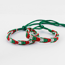 Flagge italien online-10 Italien Flagge grün rot weiß Seide Schnur Makramee Freundschaftsarmband Surfer edlen Schmuck