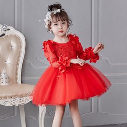 Vestido de flores crochet para meninas on-line-Infantil meninas do bebê de manga longa de crochê tutu princesa festa de aniversário 3D rose flor vestido de renda pétala vestido