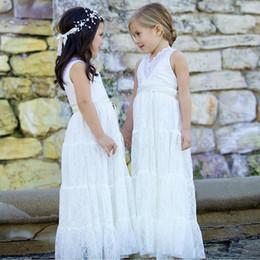 6f730902d Blanco V cuello Bodas Juniors Vestidos de dama de honor Vestidos largos de  verano para niñas Vestido de encaje con cuello en V Vestido de niña