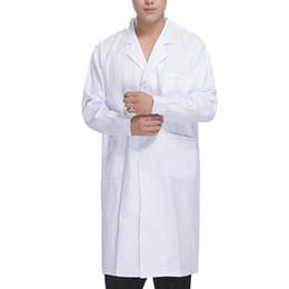 krankenschwestern einheitlich weiß Rabatt SHUJIN Mode Feste Jacke Herbst Arbeitskleidung Ärzte Krankenschwestern Kleidung Medizinische Unisex Weiß Laborkittel Langarm Taschen Uniform