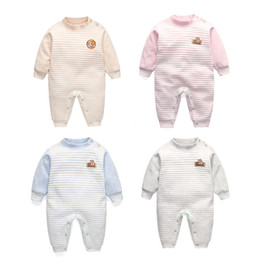 aff59410011 2018 baby boys autumn rompers cotton striped clothing for newborn casual  jumpsuit sleepwear toddle kids pajamas outfits