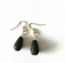 Wholesale silver bottle earrings - Lava Diffuser Earrings Water Bottle Shaped Lava-rock Tassel Earrings Aromatherapy Essential Oil Diffuser Natural Black Lava Dangle Earrings