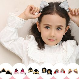 Wholesale Animal Paper Clips - Cartoon Rabbit Ear Hair Bow Prince Baby Cat ear Hair Clips Bows Hairpin with Soft Ball Kids Cute Animals Hair Barrettes pink LC690-1