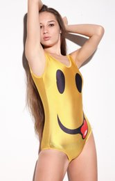 2018 Fashion Women Swimwear Original European Style Smiling Face Printed Swimsuit Digital Printing Black Milk Swimsuit Coupons
