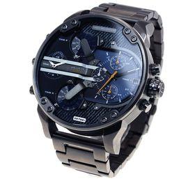 Homens assistir dual tempo aço on-line-Relógio dos homens DZ7331 Cinto de Aço Inoxidável Esportes de Negócios Relógio de Quartzo Relógios Militares de luxo preto tira de aço à prova d 'água Dual relógio do fuso horário