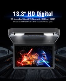 Wholesale Hdmi Car Screen - 13.3 inch Roofmount Car DVD Player 1080P HDMI USB SD FM IR Game Flip Down