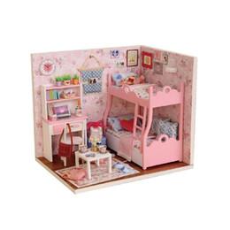 Muebles para casas de muñecas online-Casa de muñecas de madera DIY casa de muñecas hecha a mano kit de muebles Miniatura Mini casa de muñecas de juguete para niños regalos de cumpleaños