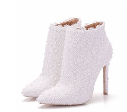 Wholesale White Bridal Boots - Sexy Fashion White Lace Lady Party Prom Shoes Boots Wedding Shoes Bridal Dress Women Shoes