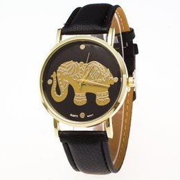 Wholesale Elephant Pins - Hot sale fashion Myanmar elephant student watch ZLF-0034 steel border round watch crocodile pattern strap pin buckle student wristwatch