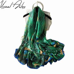 Wholesale wholesale designer silk scarves women - Visual Axles 28th,March Designer Silk Scarfs Women Luxury Brand Print Peacock Feathers Silk Foulard Scarf
